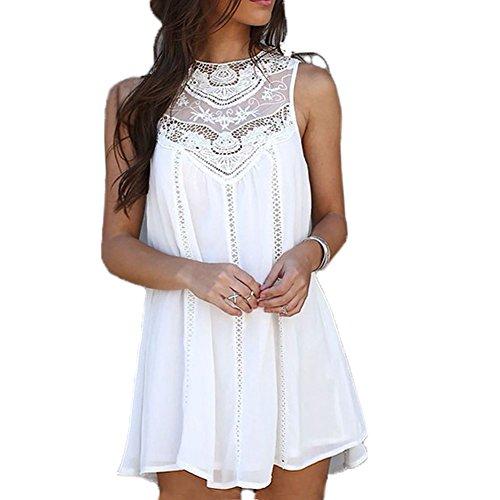IHRKleid Damen Kleid Boho Menschen Hippie Klassiker (EU36(Asia M), (Hippie White Kleid Kostüm)
