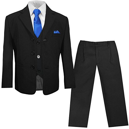 Schwarzer Kinderanzug Jungenanzug Set 6tlg (tailliert) Gr. 7 (Schwarzen Hemd Blaues Anzug,)