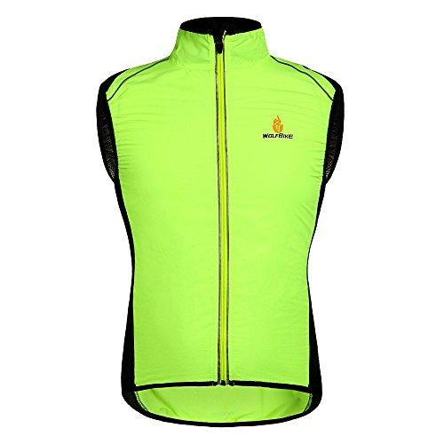 Hysenm Le Tour de France Gilet Veste Sans Manche 100% Polyester Coupe-vent Respiration Léger Déperlance Pour Cyclisme Course à Pied Randonnée JauneS