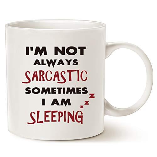 Funny Zitat Kaffee Tasse Vatertag und Muttertag Geschenke-Ich bin nicht immer Sarkastisch, Manchmal I \'m Sleeping-Einzigartige Weihnachten oder Geburtstag Geschenke Tasse Porzellan weiß, 14oz