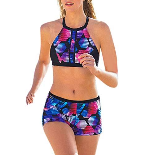 Modaworld Zwei Stück Boho Tankinis Bikini Set Damen Split Strap Rückenfrei Bikinioberteil Vest +Shorts Strand Badeanzug Set