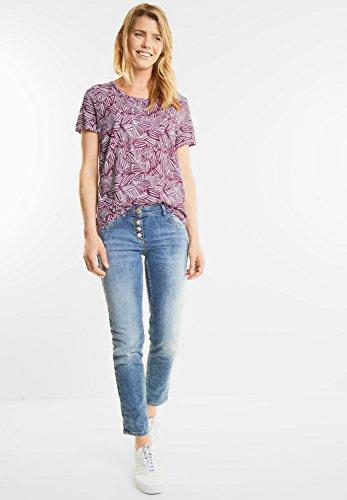 CECIL Damen Shirt mit Blätter Print deep pink (beere)