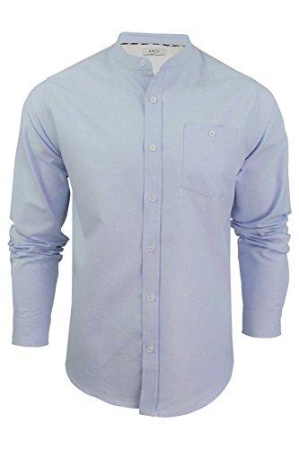 Xact Mens Grandad Collar Oxford Shirt 'Augustus' Long Sleeved