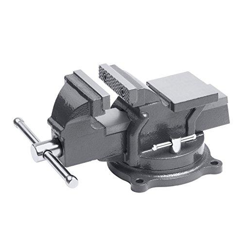 Preisvergleich Produktbild Meister Schraubstock 125 mm - Drehbar - Bis 125 mm Spannweite - Stahlbacken/Tischschraubstock mit Amboss/Schraubstock massiv für Werkbank mit zusätzlichen Schutzbacken/5144500