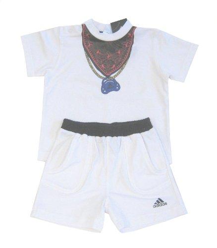 adidas Baby-Set Baby-Kombi Shirt + Short mit Halstuch-Motiv, weiß, 86