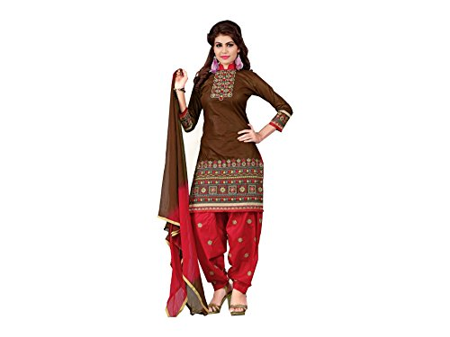 Designer Brown Cotton Embroidered patiala Suit