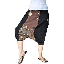 pantalones cagados cortos virblatt para hombres 100 % algodón con patrones étnicos, talla única con 2 bolsillos laterales, S - XL ropa hippie - Jenseits