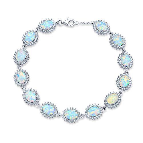 12 Ct Tennis Armband Für Damen Weißes Oval Opal Halo Krone Cz Tennis 925 Sterling Silber Oktober Geburtsstein Erstellt - Sterling Ring Silber Ctw 5 Cz