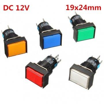 16mm DC 12V Bouton poussoir Clef auto-serrant commutateur lumière LED momentané verrouillage