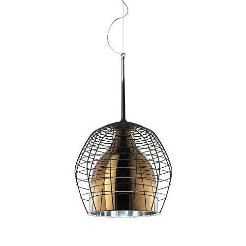 Diesel With Foscarini Cage Petite lampe suspendue avec diffuseur bronze et cage brune