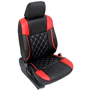 BIGZOOM _(BZ-526 Red Black) Stylish & Comfort fit Leatherite Car Seat Cover For Kwid