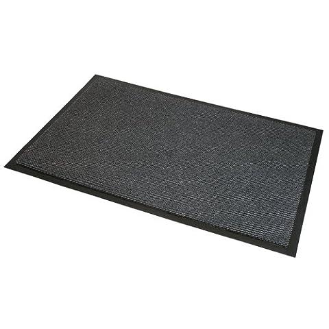 JVL Heavy Duty Barrier soutenu en caoutchouc antidérapant Porte Tapis de sol, vinyle, gris/noir, 80x 140cm, grande