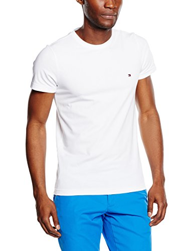 Tommy hilfiger core stretch slim cneck tee, t-shirt uomo, bianco (bright white 100), x-large