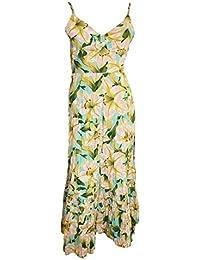 SIZES 14 16 20 22 24 NEW EX M/&S BLUE//GREEN COTTON RICH BURNOUT PRINT DRESS