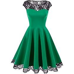 Homrain Damen 1950er Elegant Spitzenkleid Rundhals Knielang festlich Cocktail Abendkleid Green L