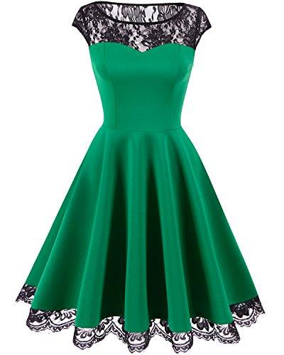 HomRain Damen 1950er Elegant Spitzenkleid Rundhals Knielang festlich Cocktail Abendkleid Green XL -