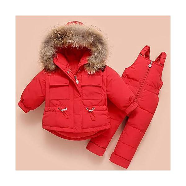 ZYY Snowsuits Niños Bebé Niño Invierno Traje De Nieve Chaqueta Acolchada Abrigo con Capucha Abajo Pantalones para La… 1