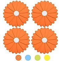 4 salvamanteles OUCHAN de alta calidad, con forma de flor, de silicona, antideslizantes, resistentes al calor, flexibles y duraderos Multicolor (Naranja)