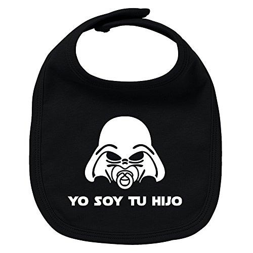 Babero de bebé Yo soy tu hijo (Yo soy tu padre - Darth Vader/Star Wars - parodia). Regalo original. Babero bebé divertido. Bebé friki. (Negro)
