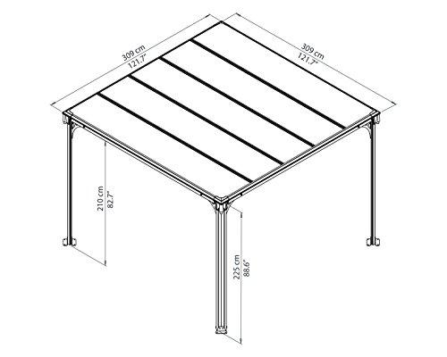 Aluminium Pavillon Überdachung Gazebo Milano 300 308×308 cm // Sommer-Pavillon und Garrtenpavillon mit 6mm Doppelstegplatten - 3