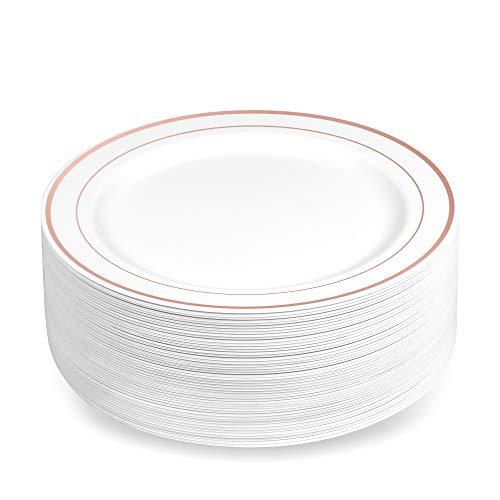 BloominGoods Einweg-Dessertteller aus Kunststoff, 19 cm, Weiß mit Roségoldrand, echter China-Optik, ideal für Hochzeiten, Partys, Catering, robust und ungiftig, 50 Stück -