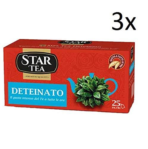 3x Star the Deteinato tè tea box 25 Teebeutel 37,5g entkoffeiniert Schwarztee