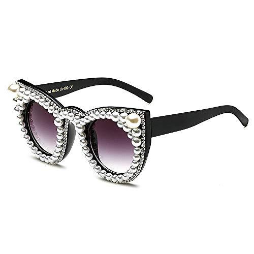 XHCP Frauen Klassische Sonnenbrille Nette kristall cat Eyes Sonnenbrille für Frauen persönlichkeit schwarz Rahmen uv Schutz Fahren Sonnenbrille Dame 's Sonnenbrille (Farbe: weiß)
