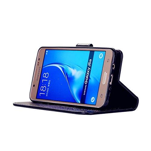 Custodia iPhone 7 2 in 1 Flip Magnetica contanti e slot per schede Custodia in pelle Protettiva Cover-porpora nero