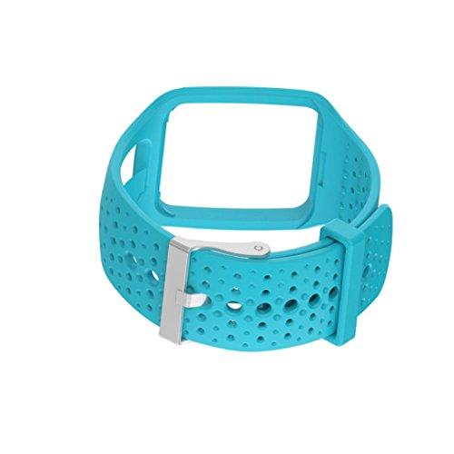 Für TomTom Runner Multi-Sport Cardio Watch Transer® Ersatz Uhrenarmbänder für TomTom Multi-Sport + HRM/TomTom Multi-Sport + HRM + CSS + AM/TomTom Multi-Sport GPS Uhr Bandbreite: 25MM (Blau)