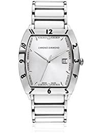 Chrono Diamond 82055_silber-40 mm - Reloj para hombres, correa de metal color blanco