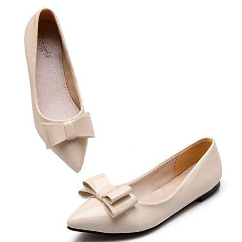 COOLCEPT Femme Elegant Bout Ferme Pointu Plat Escarpins Bas A Enfiler Chaussures Bureau Bowknot White-Beige