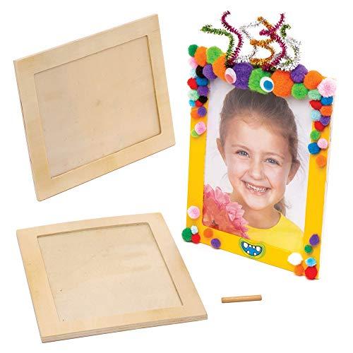Baker Ross Große Holzbilderrahmen (4 Stück) - für Kinder zum Basteln, Gestalten und Verschenken