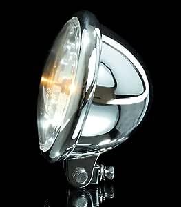 Shinyo Motorrad Scheinwerfer H4 Hauptscheinwerfer Ø157mm Bates Klarglas Unten Chrom Unisex Multipurpose Ganzjährig Metall Auto