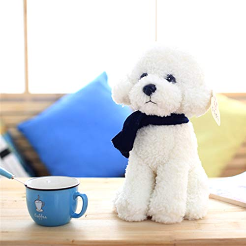 Toy Bambini Peluche Simulation Teddy Barboncino Dog Soft Roll Regalo Compleanno,White