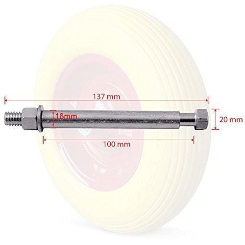 Deuba Schubkarrenrad Vollgummi PU 4.80/4.00-8 390 mm 200 kg + Achse - Reifen Ersatzrad - 3