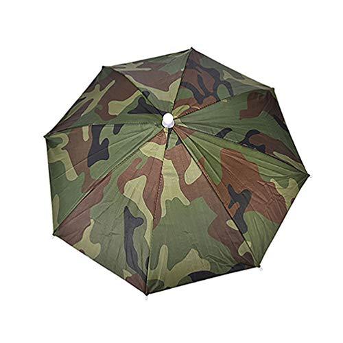 geshiglobal Sonnenschirm-/Regenschirm-Hut, verstellbares Stirnband, für Sport im Freien, faltbarer Angelhut, armee-grün -