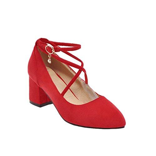 Xinwcang Damen Pumps Geschlossene Zehen Strappy Heels Fashion Riemchen Tanzschuhe Hochzeitsschuhe Blockabsatz Brautschuhe Rot Asia 39