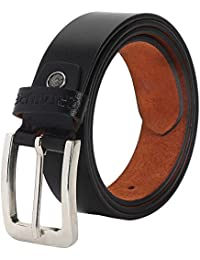 CREATURE Formal/Casual Black Color Genuine Leather Belts For Men (Length- 46 inches||35MM||BL-037)