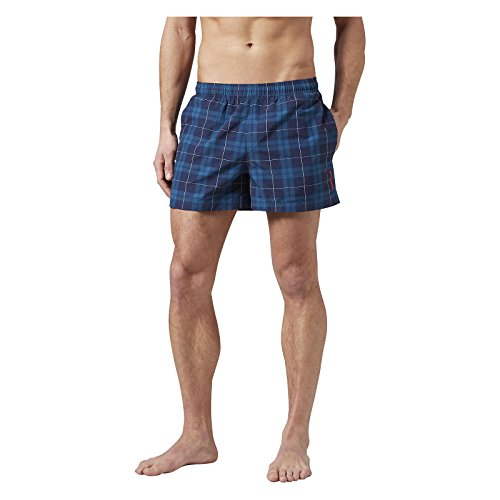 REEBOK HERREN SHORTS SZORTY BW CHECK BOXER - Color: Blau - XL (Reebok-boxer-shorts)