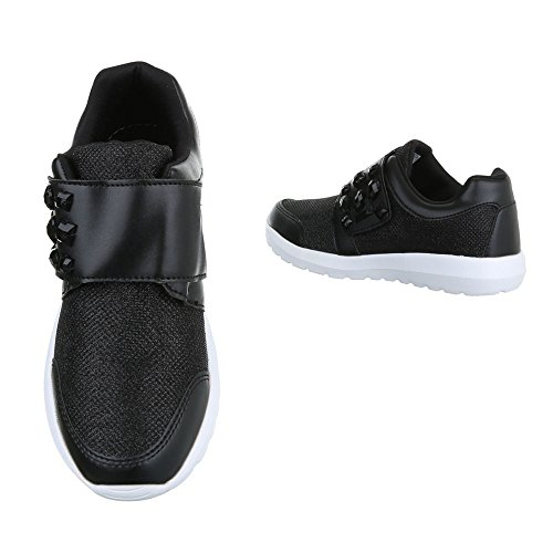 Sportschuhe Damenschuhe Geschlossen Sneakers Klettverschluss Ital-Design Freizeitschuhe Schwarz