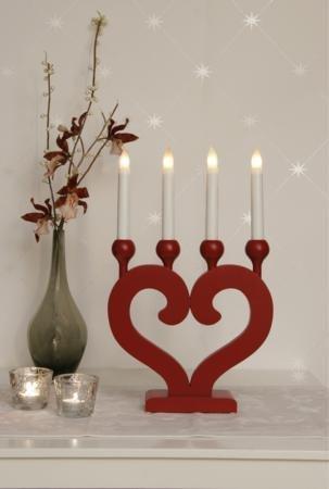 Star 244–95nusnäs-4LED-Kerzenständer 4Lichter Holz 46x 29cm rot