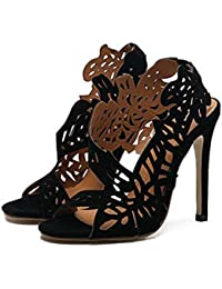 Scarpin Zapatillas abiertas Zapatos de la Corte Tacón alto Sandalias De las mujeres Punta abierta Hueco Cordón Hebilla del cinturón Sandalias Tamaño 35-40 de la UE , black , 37
