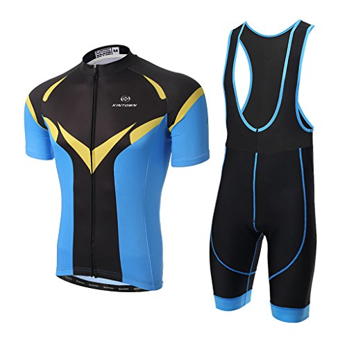 Radtrikot Skysper Outdoor Sports Fahrradbekleidung Set Männer Kurzarm Radfahren Jersey + Radfahren Latzhose Shorts