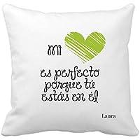 Cojín Personalizado Regalo Original Enamorados/Verde / Incluye: Funda + Relleno/Pareja /