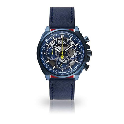 DETOMASO LIVELLO Herren-Armbanduhr Chronograph Analog Quarz dunkelblaues Edelstahl-Gehäuse blaues Zifferblatt - mit 5 Jahre Herstellergarantie (Leder- Blau II)