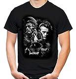 James Dean Männer und Herren T-Shirt | Vintage Rockabilly Retro Kult (L, Schwarz Druck:Weiß)