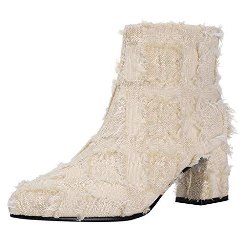 Floweworld Damenmode Stiefeletten Reine Farbe Quaste Quadratische Absätze Winter Warme Plüsch Futter Seitlicher Reißverschluss Spitz Kurze Stiefel -