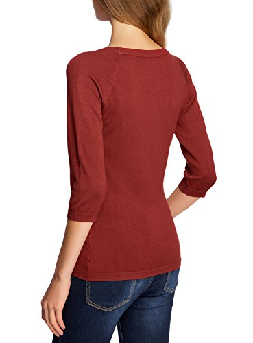 oodji Collection Femme Pull Basique avec Manches 3/4 Rouge (3100N)