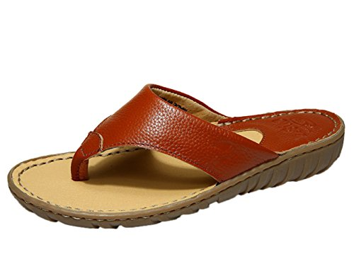 Insun Femme Tongs Normal Plat Sandales Bout Ouvert Mules Chaussures Flip Flops Marron Foncé