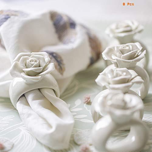 OYPA Handgemachte Keramik Serviettenringe, weißes Porzellan dreidimensionale Blumen Design Mund Tuch Serviettenring für Home Tischdekoration Set von 8 Blumen-keramik